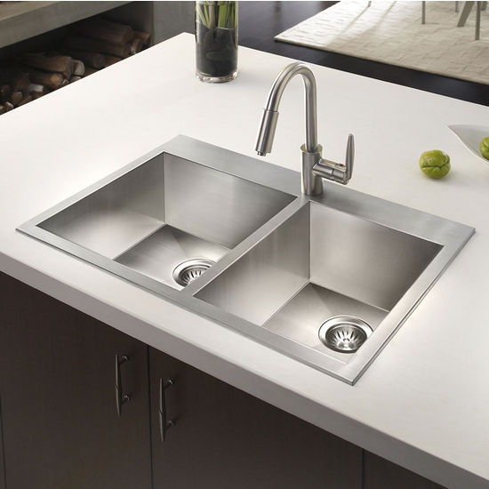 Medium image of houzer bellus zero radius topmount 60 40 double bowl kitchen sink small bowl right