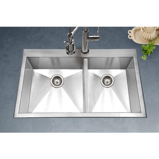 ... Zero Radius Topmount 60/40 Double Bowl Kitchen Sink, Small Bowl Right