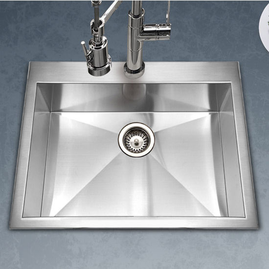 Houzer Bellus Zero Radius Topmount Single Bowl Kitchen Sink