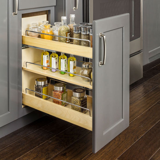 Hardware Resources No Wiggle Soft Close Under Drawer Base Cabinet Pullout with Undermount Slides