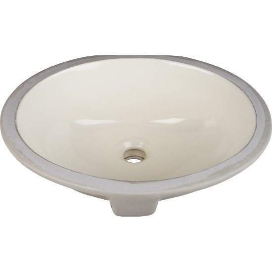 "Hardware Resources 15"" Diameter x 12"" D Parchment Oval Undermount Porcelain Sink Basin, 15"" W x 12"" D x 6-1/8"" H"