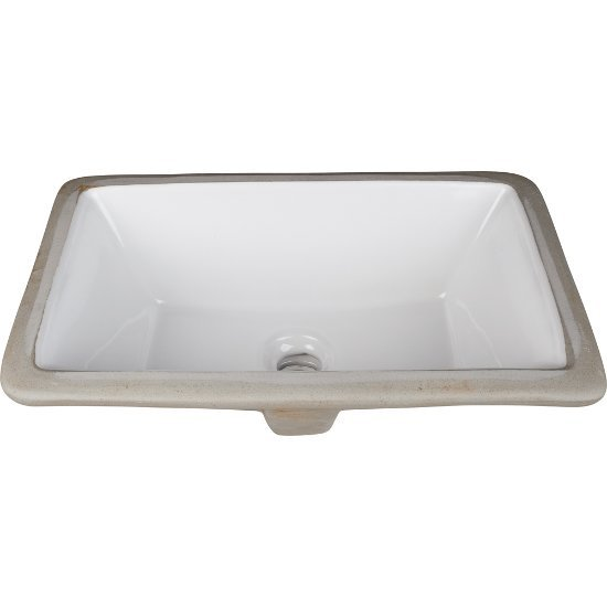 "Hardware Resources 18-1/8"" W x 12"" D Rectangle Undermount Porcelain White Bathroom Sink, 18-1/8"" W x 12"" D x 6-7/8"" H"