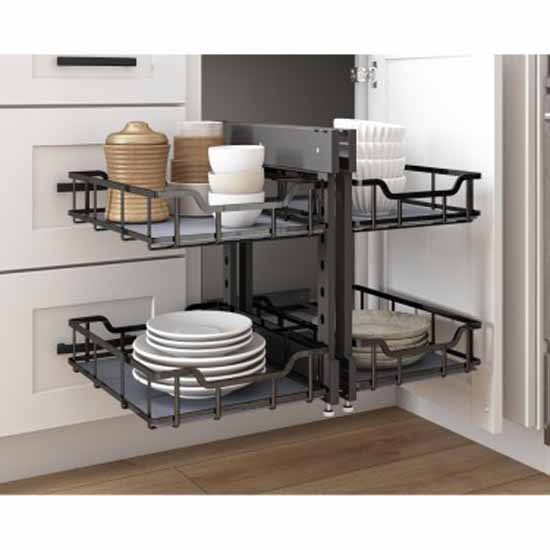 Hardware Resources Standard 18'' W Brushed Nickel Blind Corner Organizer Lifestyle View 2