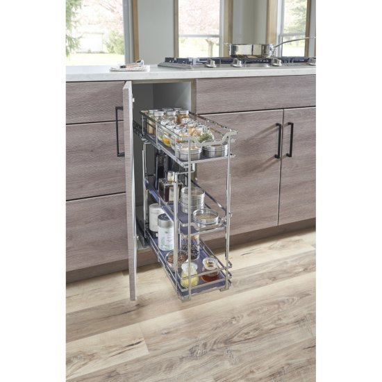 "Hardware Resources Storage with Style™ 5"" Wire Base Pullout in Polished Chrome Frame, For 6"" Minimum Cabinet Opening, 5-15/16"" W x 21-5/16"" D x 24-1/16"" H"