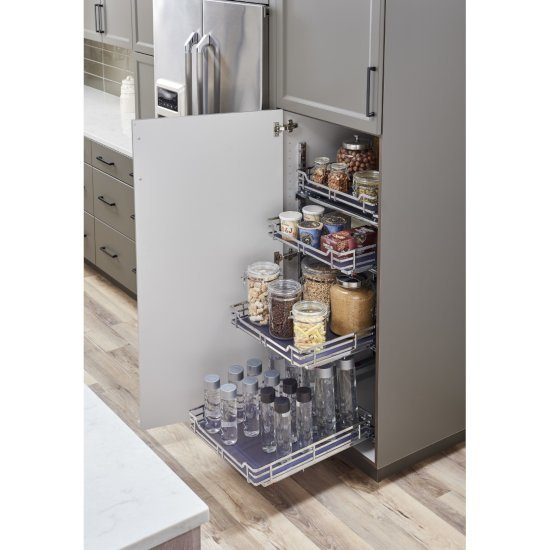 "Hardware Resources Storage with Style™ Wire Pullout Basket in Polished Chrome, For 21"" Minimum Cabinet Opening, 9-9/16"" W x 22-1/16"" D x 5-7/16"" H"