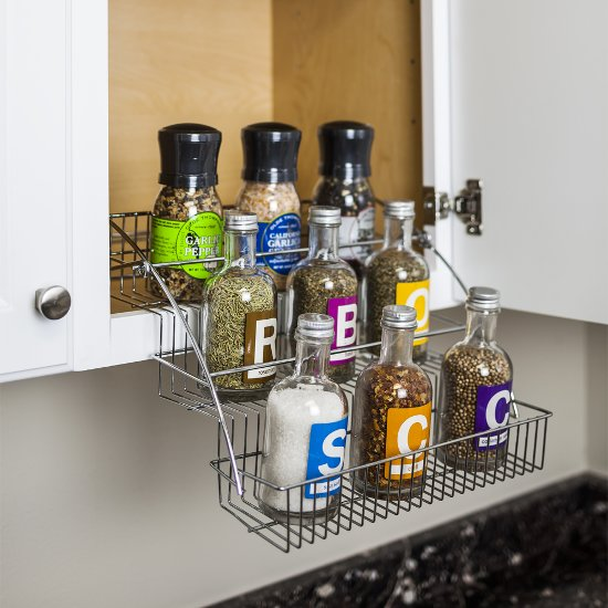 Hardware Resources 3-Tier Spice Rack Pulldown, Polished Chrome