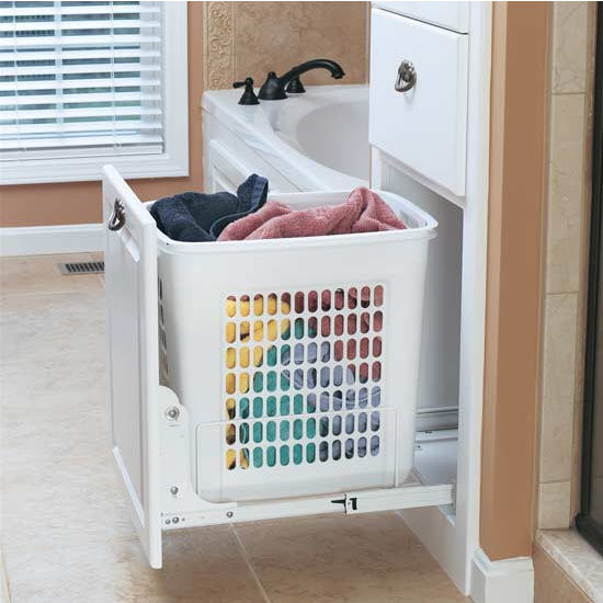 rev a shelf white pull out polymer laundry hamper for. Black Bedroom Furniture Sets. Home Design Ideas