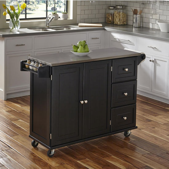 Liberty Wood Top Mobile Kitchen Cart W Wood Or Stainless