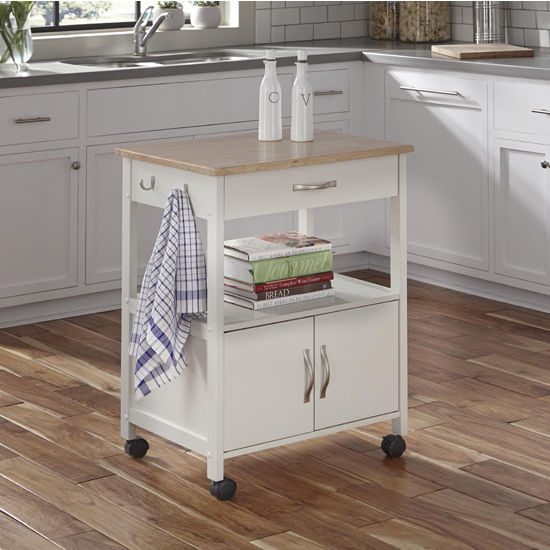 Banner mobile kitchen cart in black or white base finish for Home styles natural kitchen cart with storage