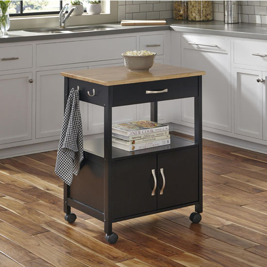 Home Styles 4528 95 Kitchen Island Cart: Banner Mobile Kitchen Cart In Black Or White Base Finish
