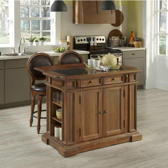 Americana Vintage Kitchen Island With Optional Granite