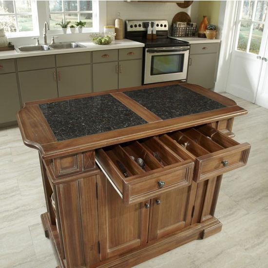 Americana Vintage Kitchen Island With Optional Granite