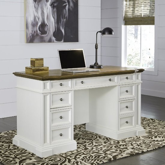 Home Styles Americana White Pedestal Desk In 56 W X 25 D