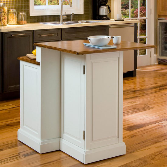 home styles woodbridge two tier kitchen island & two stools in