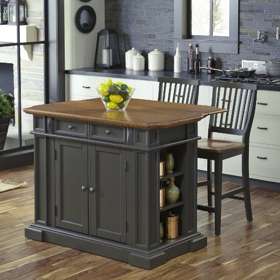 """Home Styles 48"""" Wide Americana Kitchen Island with 2 Stools in Grey, 48"""" W x 26"""" D x 36"""" H"""