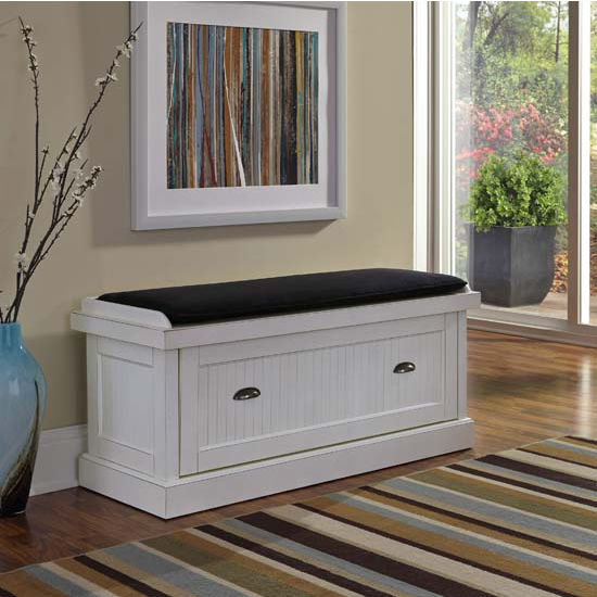 home styles nantucket upholstered bench with enclosed cubby storage in white finish. Black Bedroom Furniture Sets. Home Design Ideas