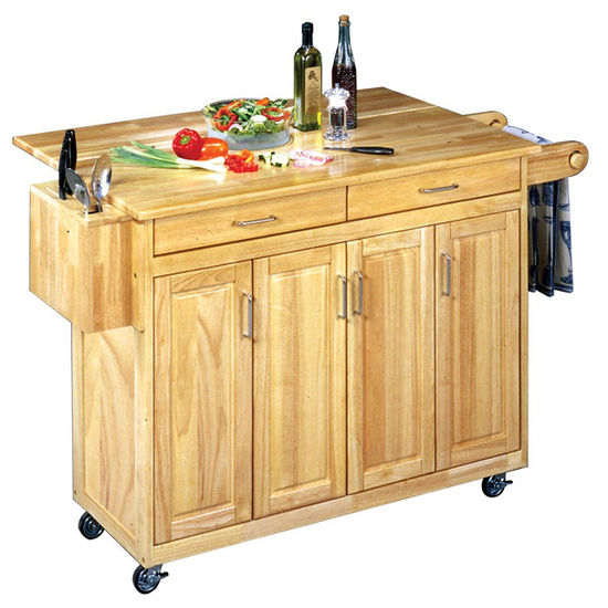 Home Styles Natural Finish Kitchen Cart with Breakfast Bar
