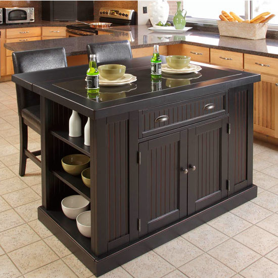 Home Styles Nantucket Kitchen Island With Black Granite Inlay And Breakfast Bar In Distressed