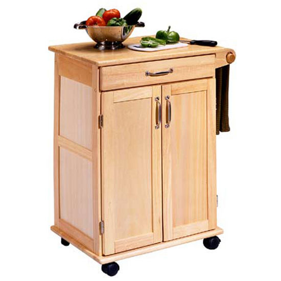 Home Styles Natural Finish Kitchen Cart With Two Panel Doors