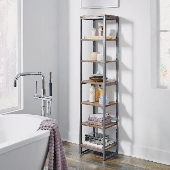 "Home Styles Barnside Metro Seven Tier Bath Shelf Tower, Driftwood, 13"" W x 11"" D x 60-1/4"" H"