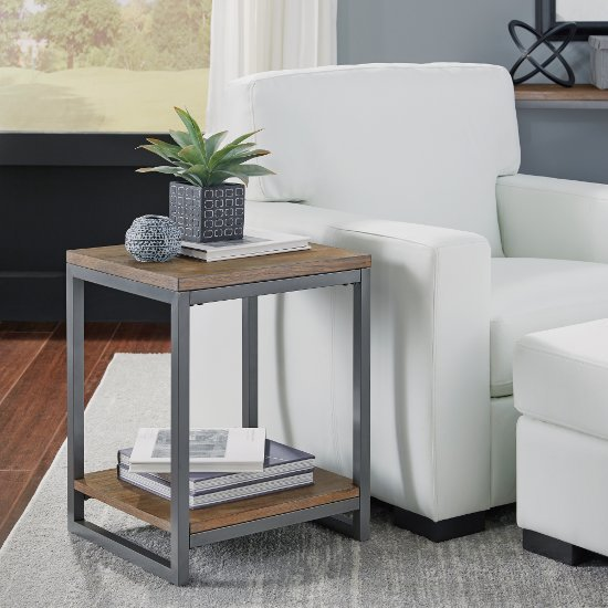 """Home Styles Barnside Metro End Table, Driftwood, 18"""" W x 16"""" D x 22"""" H"""