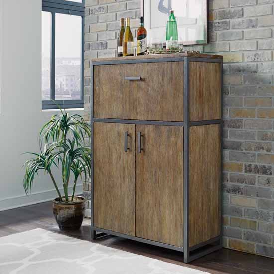 """Home Styles Barnside Metro Bar Cabinet in Multi-toned Driftwood Finish, 34""""W x 16-1/2""""D x 52-1/4""""H"""
