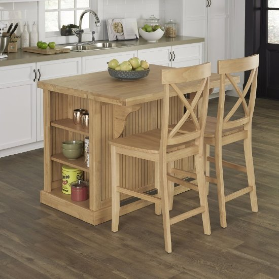 home styles 48   wide nantucket natural butcher block top kitchen island with 2 stools in 48 u0027 u0027 wide nantucket natural kitchen island in maple with butcher      rh   kitchensource com
