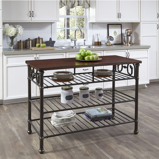 Richmond Hill Kitchen Island With Solid Rubber Wood Top