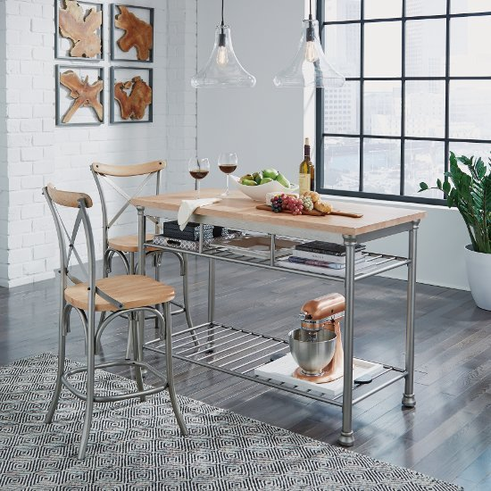 French Quarter Butcher Block Top Kitchen Island in Aged White Washed Finish with Stool Option ...