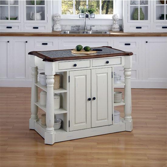 Home Styles Americana Granite Kitchen Island, Oak/White, 44-3/4'' W x 26-3/4'' D x 36'' H