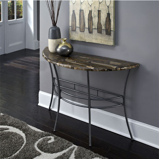 Home Styles Turn to Stone Console Table, Petrified Wood, Gray Metal, 48'' W x 17'' D x 30'' H