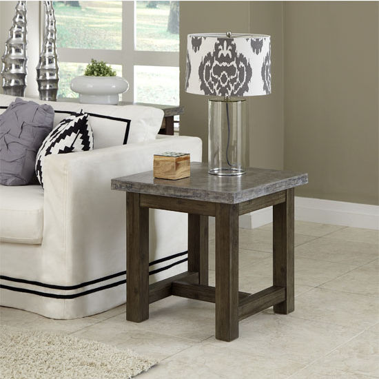 Home Styles Concrete Chic End Table, Brown/Gray, 22'' W x 22'' D x 22'' H