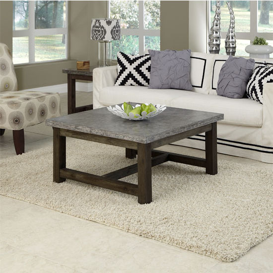 Home Styles Concrete Chic Square Coffee Table, Brown/Gray, 36'' W x 36'' D x 18'' H