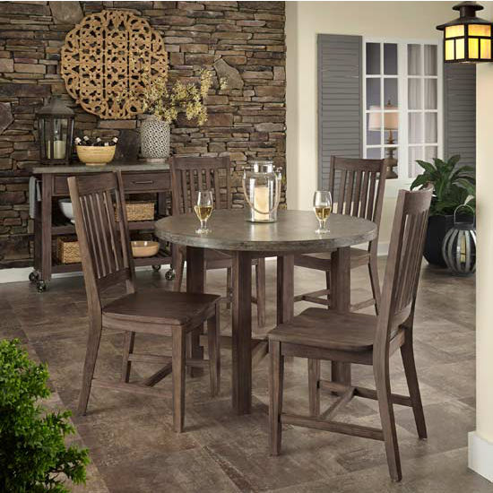 Home Styles Concrete Chic 5-PC Dining Set (Includes: 1 Round Dining Table and 4 Dining Chairs), Weathered Brown Finish