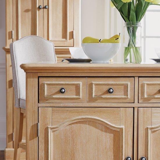 Cambridge Kitchen Island With Quartz Inset Top & Stool Option In White Washed Finish, 47-1/4
