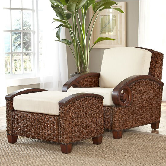 Cabana Banana III Chair With Woven Exterior And Hardwood Arm Rests Mesmerizing Living Rooms With Ottomans Exterior