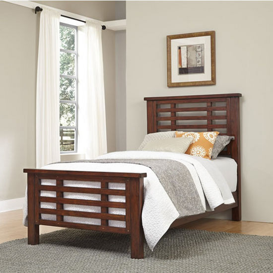 Home Styles Cabin Creek Vintage Feel Complete Twin Bed in Distressed Chestnut Finish, 43-1/2''W x 82''D x 50-1/2''H