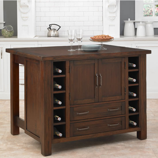 Home Styles Cabin Creek Kitchen Island, Chestnut