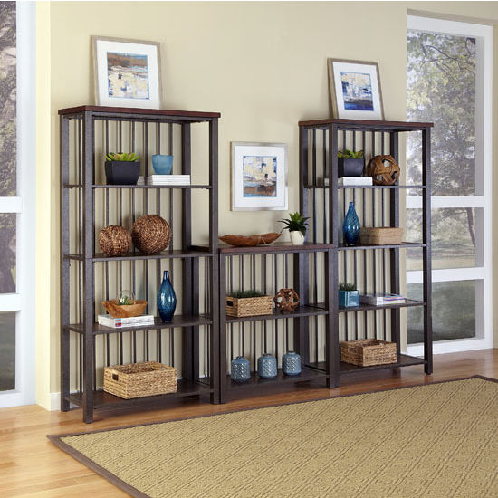 Home Styles Cabin Creek 3-Piece Multi-Function Shelving Unit, 114'' W x 16'' D x 75-1/2'' H, Multi-Step Chestnut