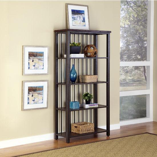 Home Styles Cabin Creek 5-Tier Multi-Function Shelves, 38'' W x 16'' D x 75-1/2'' H, Multi-Step Chestnut