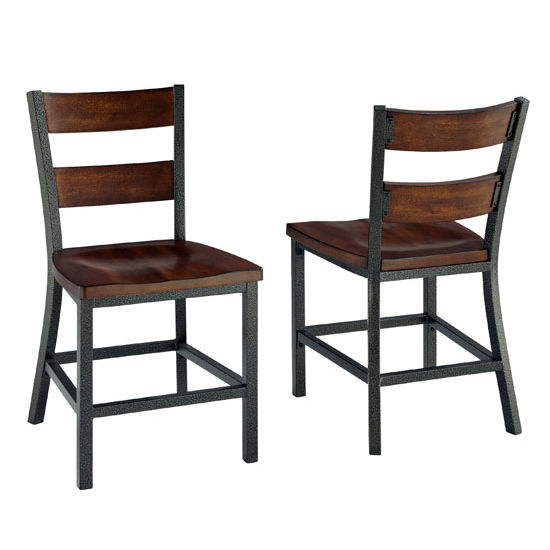 Home Styles Cabin Creek Dining Chair Pair, Multi-Step Chestnut, 18'' W x 21-1/4'' D x 34'' H