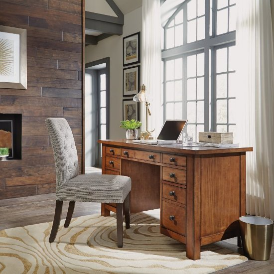 "Home Styles Tahoe Executive Pedestal Desk in Aged Maple, 54"" W x 23-3/4"" D x 30"" H"