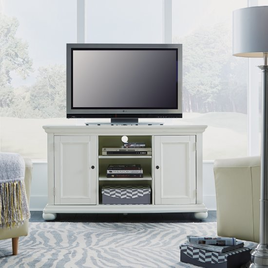 "Home Styles Dover 56"" W Entertainment Stand, Accommodate Up to Most 60"" TVs, White Painted, 56"" W x 18"" D x 32-1/4"" H"