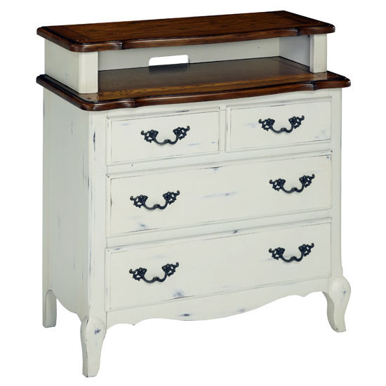 Home Styles The French Countryside Oak and Rubbed White Media Chest, 36'' W x 18-1/2'' D x 38'' H