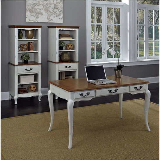 Home Styles The French Countryside Oak and Rubbed White Executive Desk, 54'' W x 28'' D x 30'' H