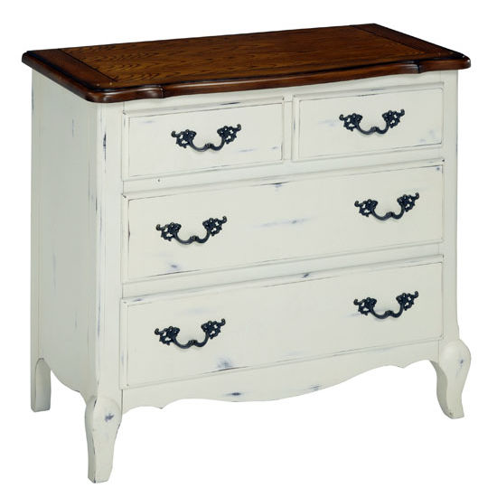 Home Styles The French Countryside Oak and Rubbed White Drawer Chest, 36'' W x 18-1/2'' D x 32'' H