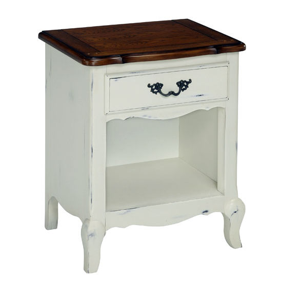 Home Styles The French Countryside Oak and Rubbed White Night Stand, 23-3/4'' W x 18'' D x 28'' H