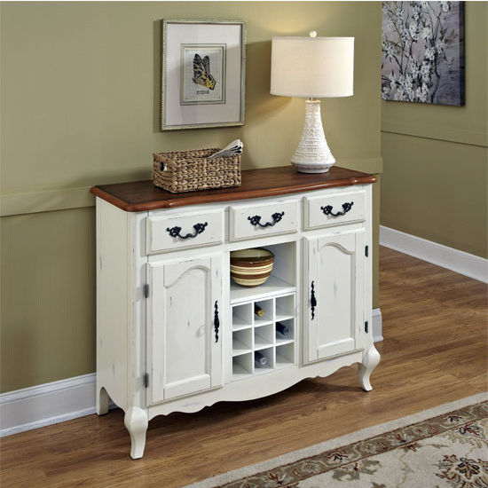 Home Styles The French Countryside Oak and Rubbed White Buffet, 44-1/4'' W x 17-1/2'' D x 36'' H