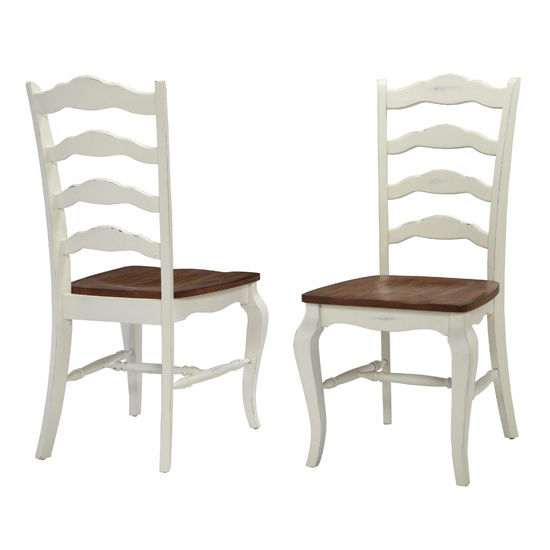 """Home Styles #HS-5518-802, The French Countryside Oak and Rubbed White Dining Chair, 18-3/4"""" W x 21-1/2"""" D x 40"""" H, Per Pair"""