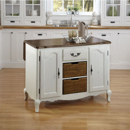 French Countryside Oak and Rubbed White or Rubbed Black Kitchen Island